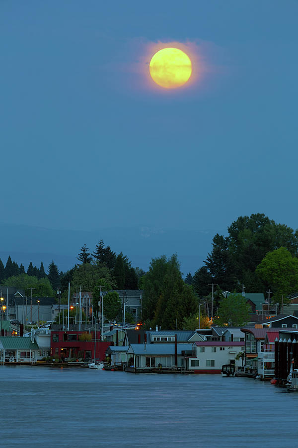 Moonrise Photograph - Full Moon Over Floating Homes On Columbia River by David Gn