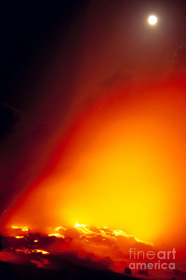A'a Photograph - Full Moon Over Lava by Peter French - Printscapes