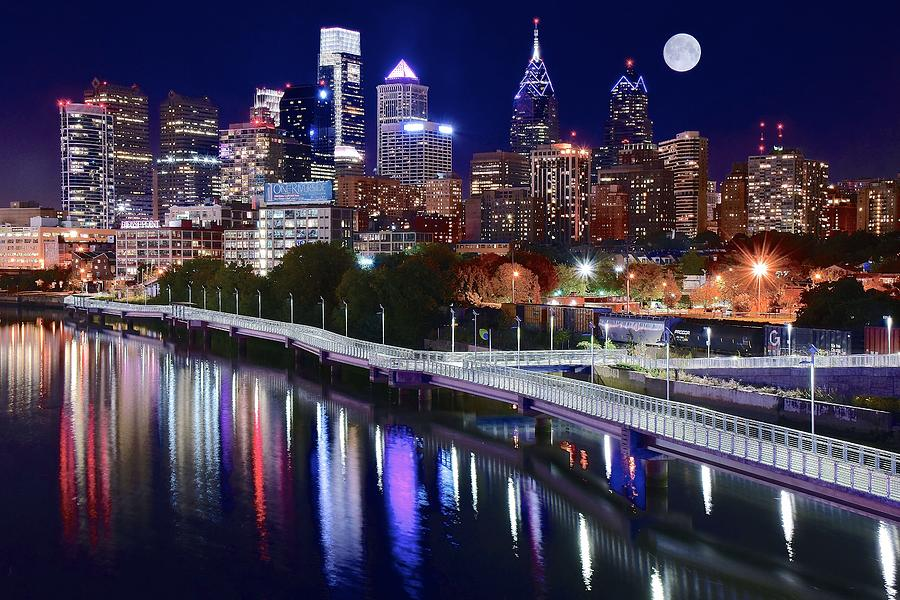 Philadelphia Photograph - Full Moon Over Philly by Frozen in Time Fine Art Photography