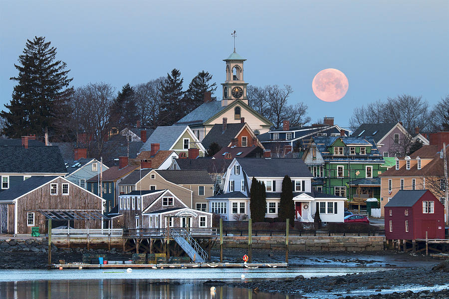 Portsmouth Photograph - Full Moon Over Portsmouth by Eric Gendron