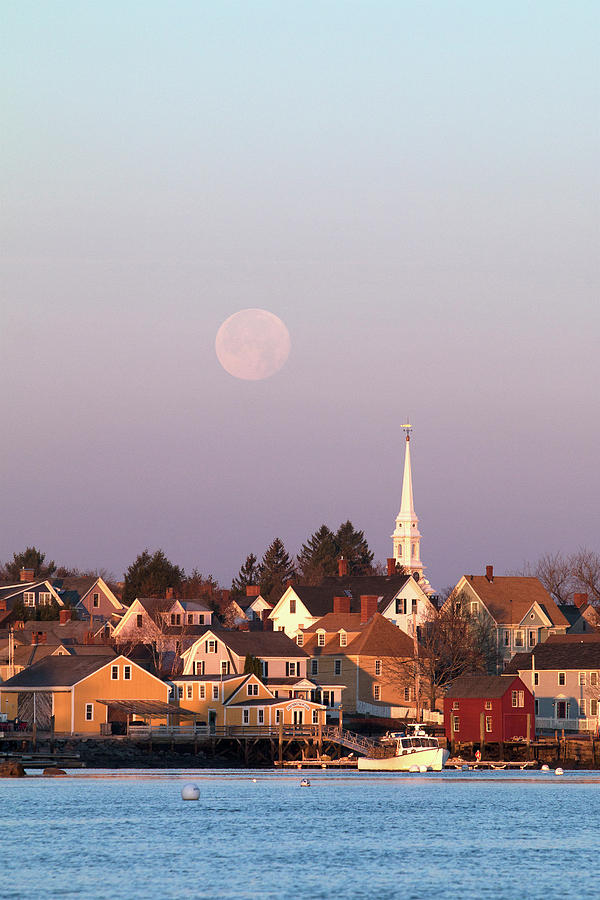 Portsmouth Photograph - Full Moon Over Portsmouth Nh by Eric Gendron