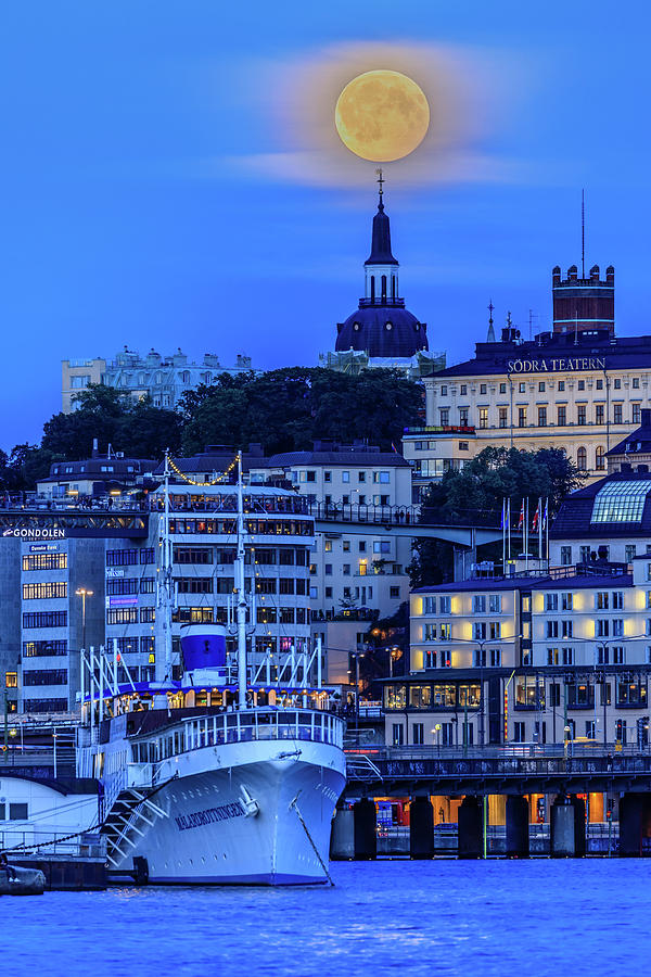 Blue Hour Photograph - Full Moon Over The Katarina Church And Sodermalm In Stockholm by Dejan Kostic