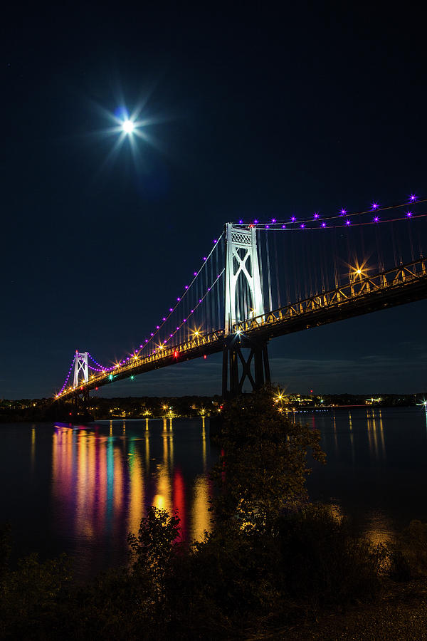 Full Moon Over The Mid - Hudson Bridge by John Morzen
