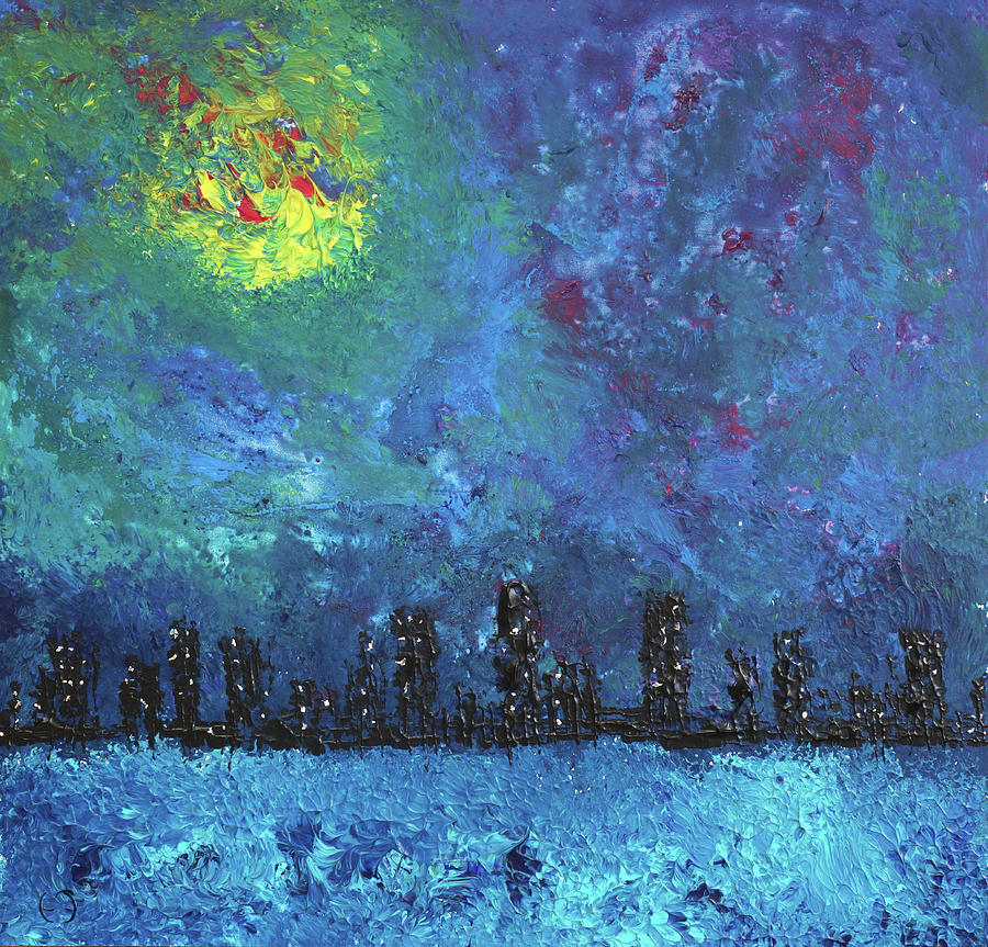 Water Painting - Full Moon Over Watercity by Erik Tanghe