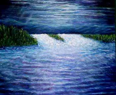Waterscape Painting - Full Moon by Patricia Obletz