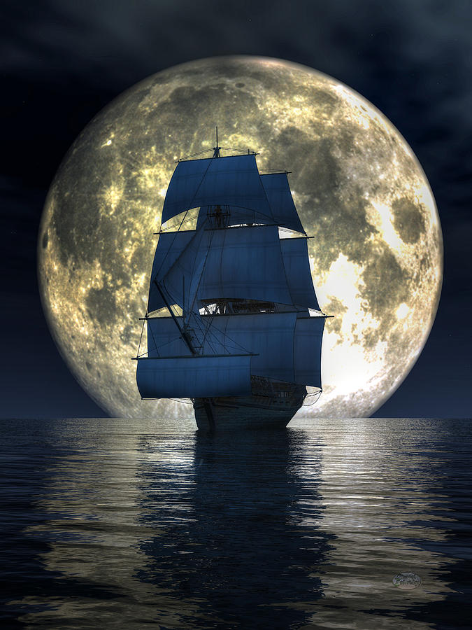 Full Moon Pirates Digital Art