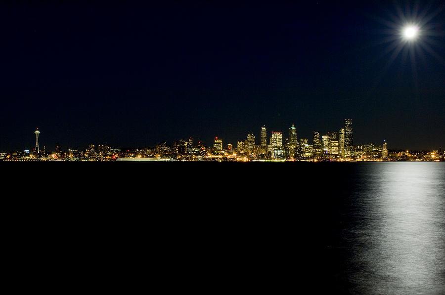 Seattle Photograph - Full Moon Refrection D061 by Yoshiki Nakamura
