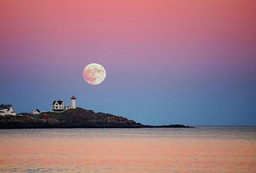 Full Moon Rising At Nubble Light Photograph by Wayne Marshall Chase