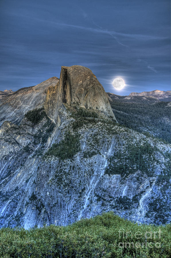 Half Dome Photograph - Full Moon Rising Behind Half Dome by Jim And Emily Bush