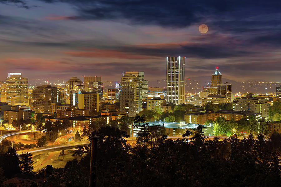 Portland Photograph - Full Moon Rising over Downtown Portland by David Gn