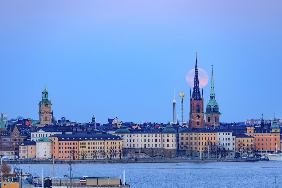 Full Moon Photograph - Full Moon Rising Over Gamla Stan Churches In Stockholm by Dejan Kostic