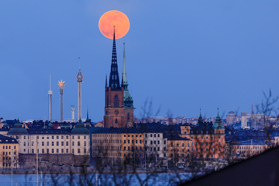 Full Moon Photograph - Full Moon Rising Over Gamla Stan In Stockholm by Dejan Kostic