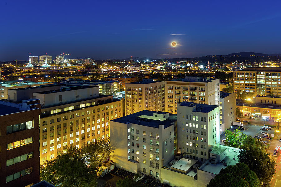 Portland Photograph - Full Moon Rising Over Portland Downtown by David Gn