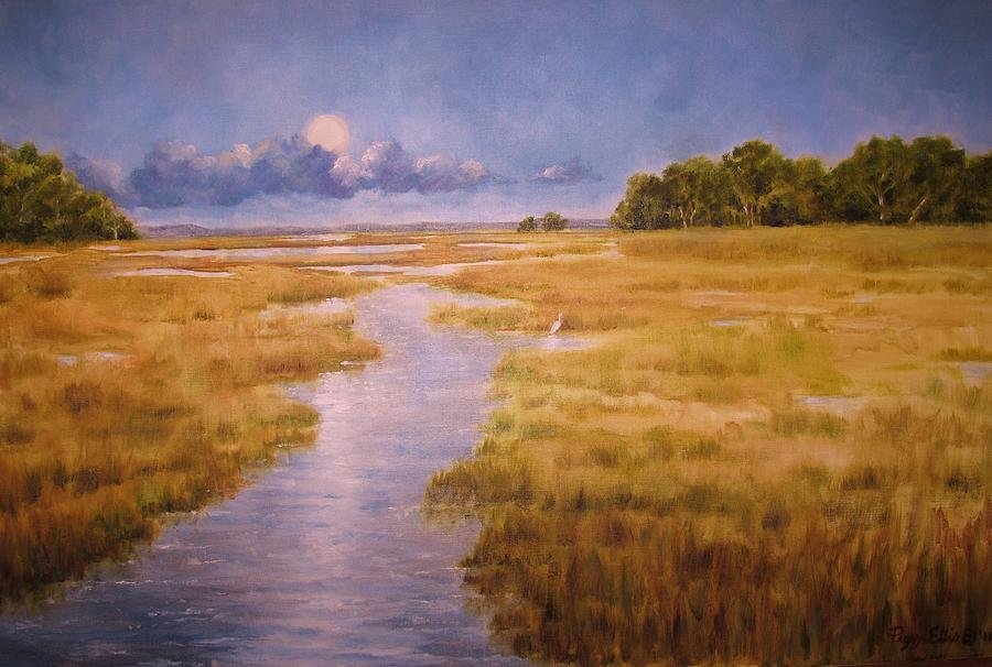Marsh Painting - Full Moon Rising by Peggy Ellis
