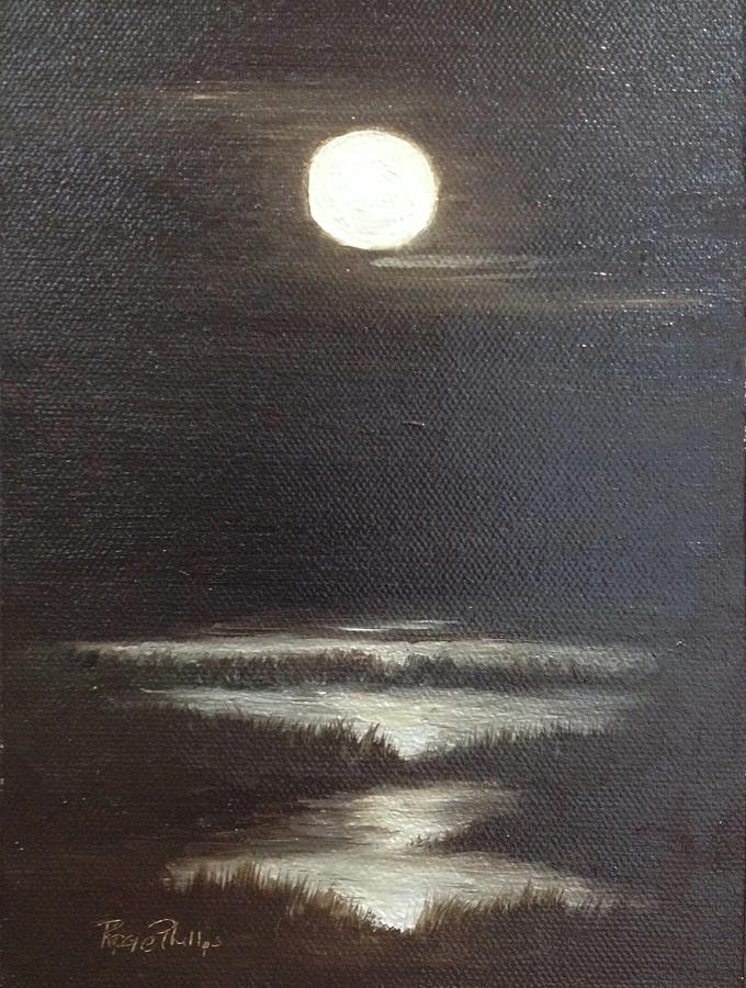 Moon Painting - Full Moon by Rosie Phillips