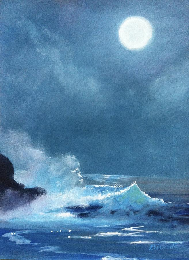 Moon Painting - Full Moon Seascape by Janet Biondi