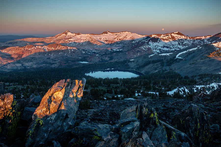 Landscape Photograph - Full Moon Set Over Desolation Wilderness by Mike  Herron