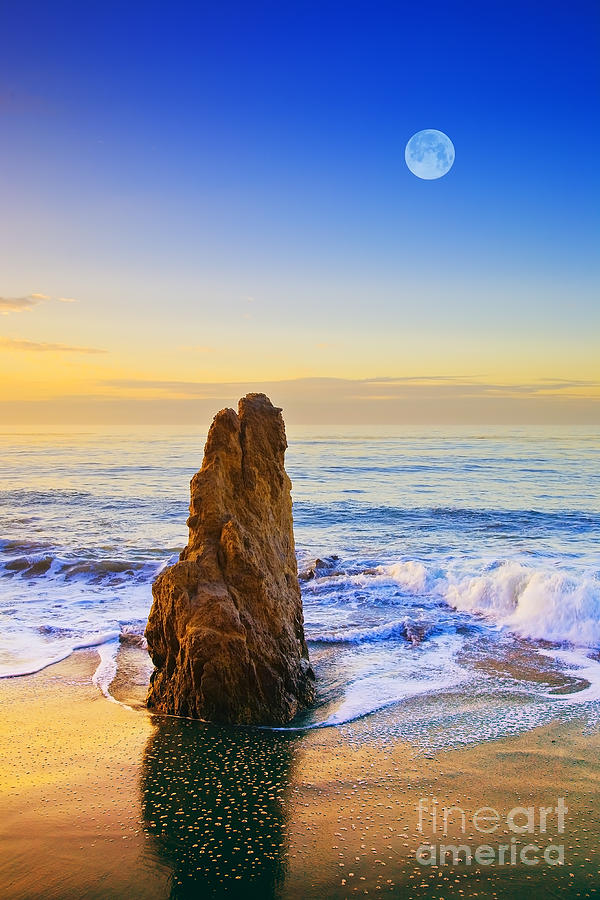 Beaches Photograph - Full Moon Setting by Greg Clure