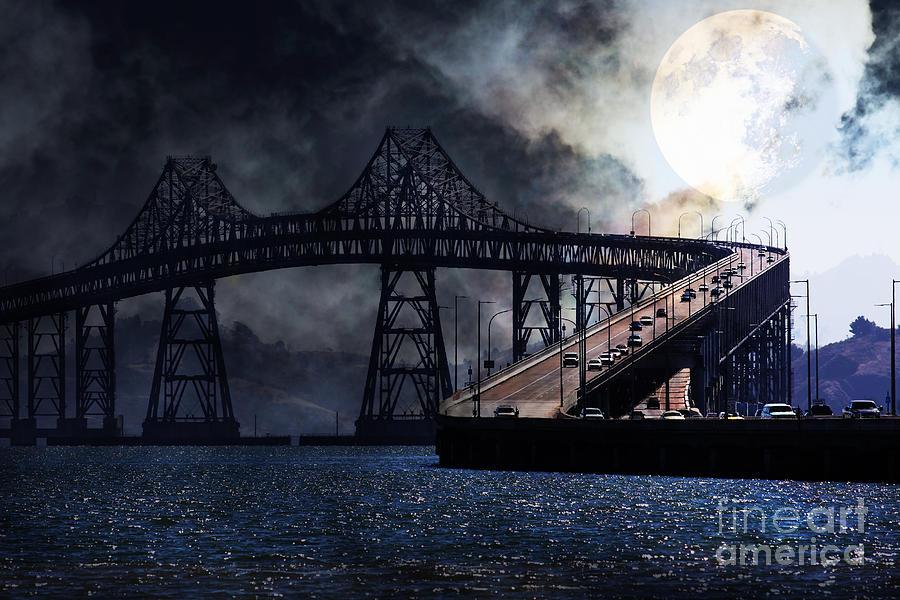 San Francisco Photograph - Full Moon Surreal Night At The Bay Area Richmond-san Rafael Bridge - 5d18440 by Wingsdomain Art and Photography