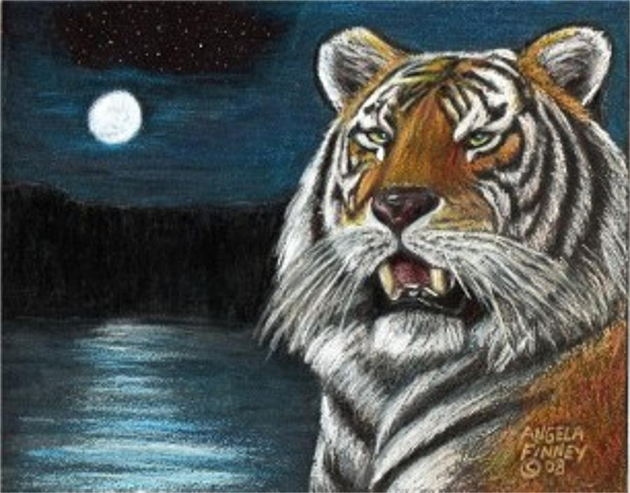 Tiger Painting - Full Moon Tiger by Angela Finney