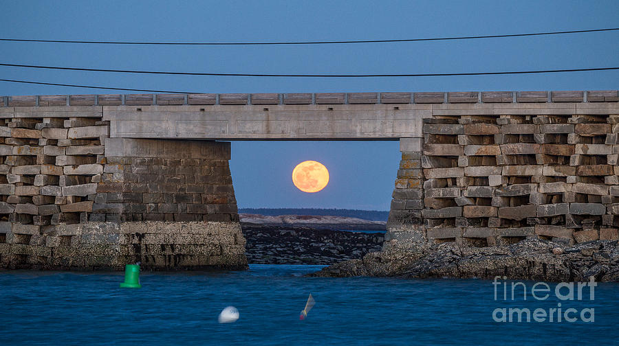 Bailey Island Bridge Photograph - Full Moon Under The Cribstone Bridge by Benjamin Williamson