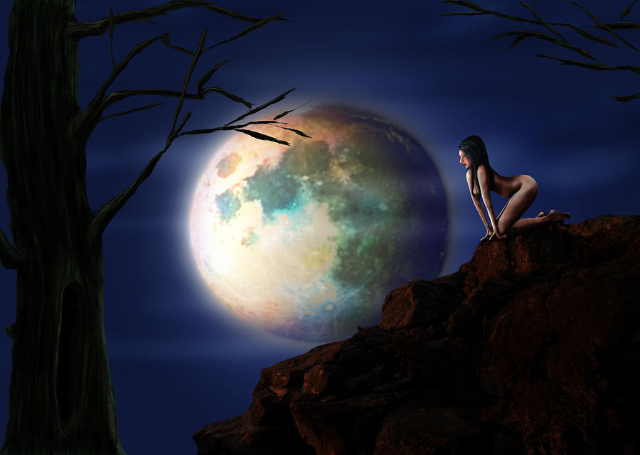 Moon Digital Art - Full Moon by Virginia Palomeque