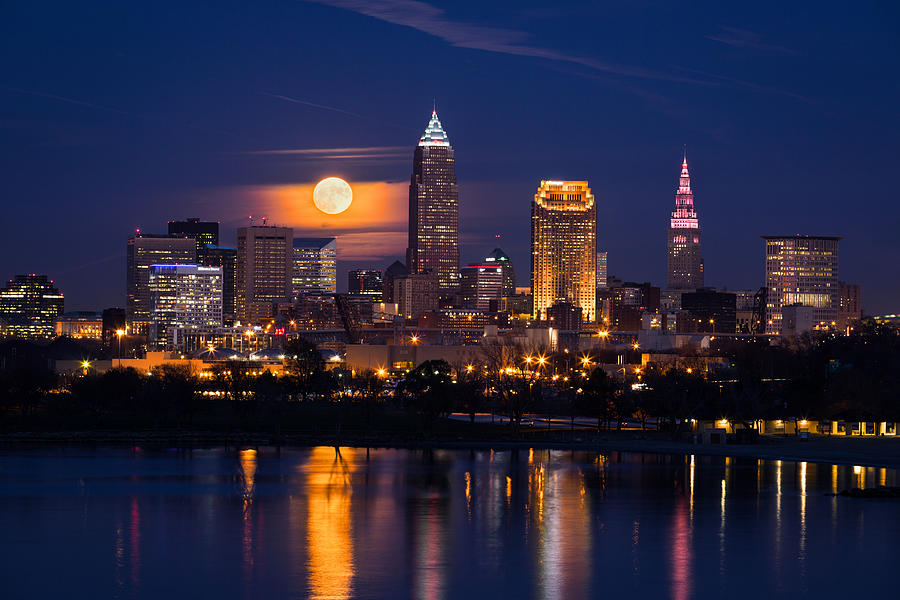 Full Moonrise Over Cleveland by Dale Kincaid