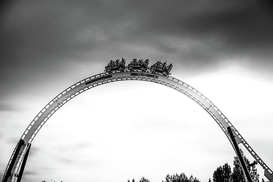 Magic Mountain Photograph - Full Throttle Over The Top Bw by Matthew Nelson