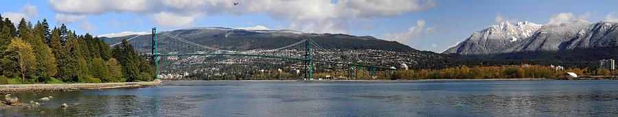 Lion's Gate Bridge Photograph - Full View Of The Lions Gate Bridge Vancouver City  by Pierre Leclerc Photography