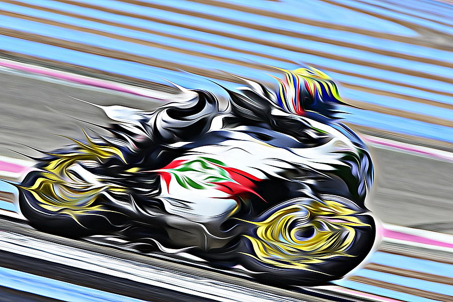 Motorcycle Digital Art - Fullspeed On Two Wheels 7 by Jean-Louis Glineur alias DeVerviers