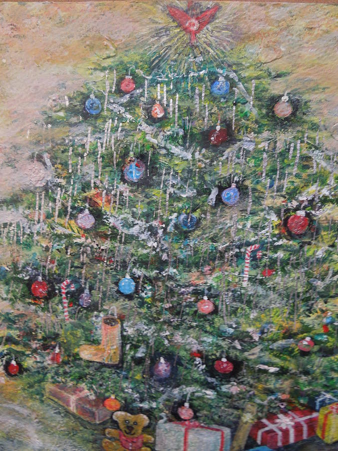 fully decorated christmas tree painting by william spivey