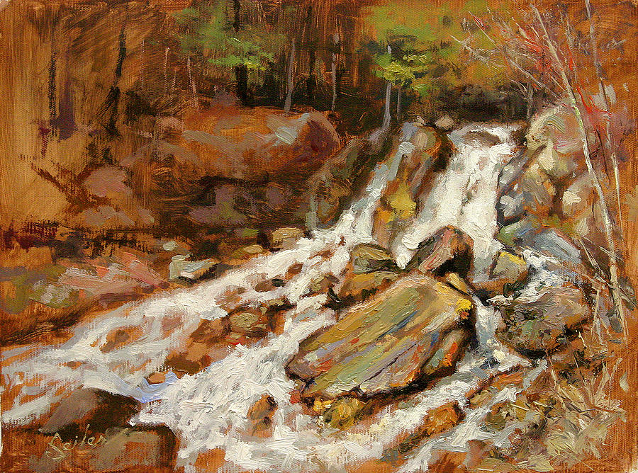 Oil Painting Painting - Fumee Falls Quinnessec Mi by Larry Seiler