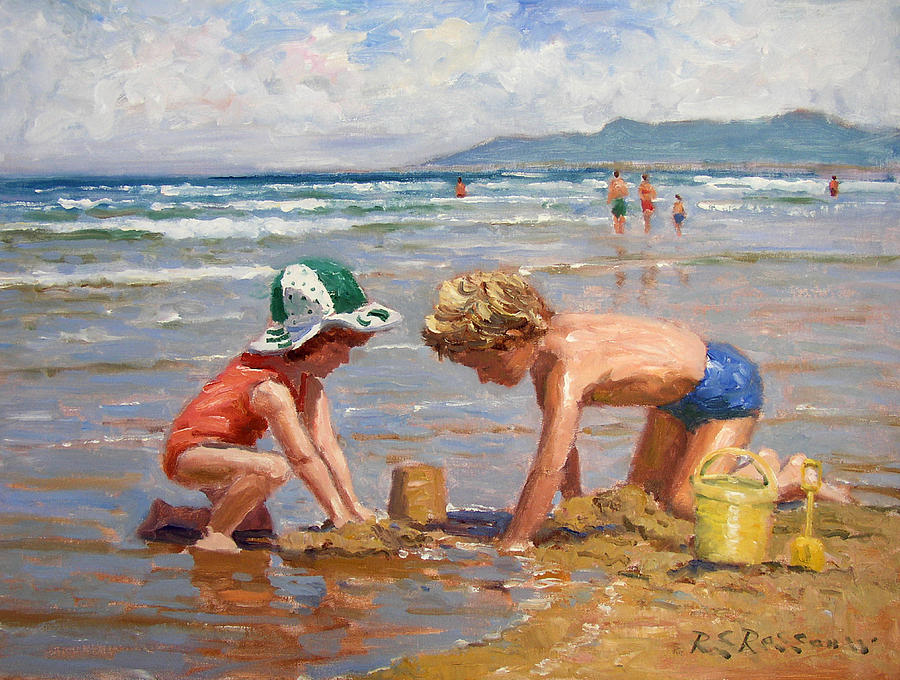 Seaside Painting - Fun At The Beach by Roelof Rossouw