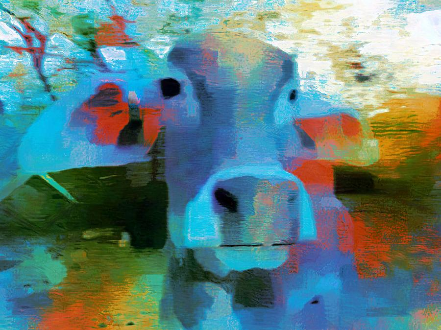 Turquoise Abstract Fun Cow Rajasthan India 1a by Sue Jacobi