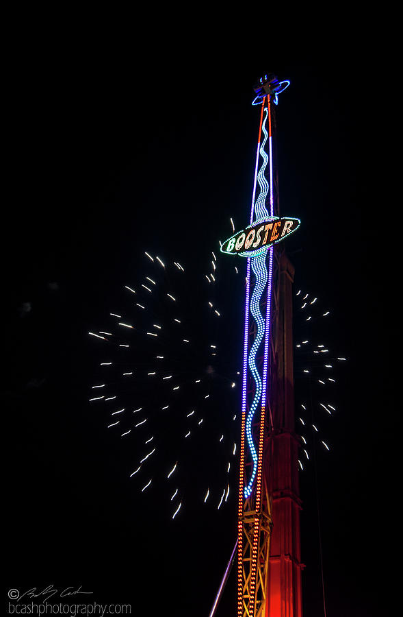 Fun fair ride and fireworks by Beverly Cash