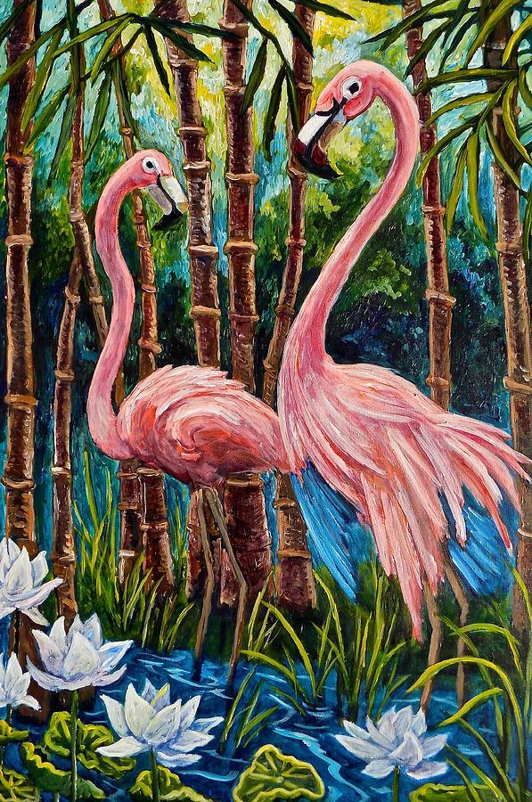 Flamingo Painting - Fun Flamingos by Sebastian Pierre