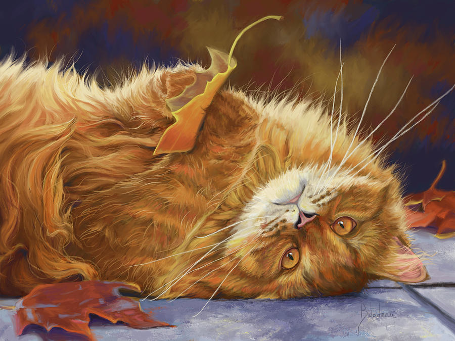 Cat Digital Art - Fun In The Fall by Lucie Bilodeau