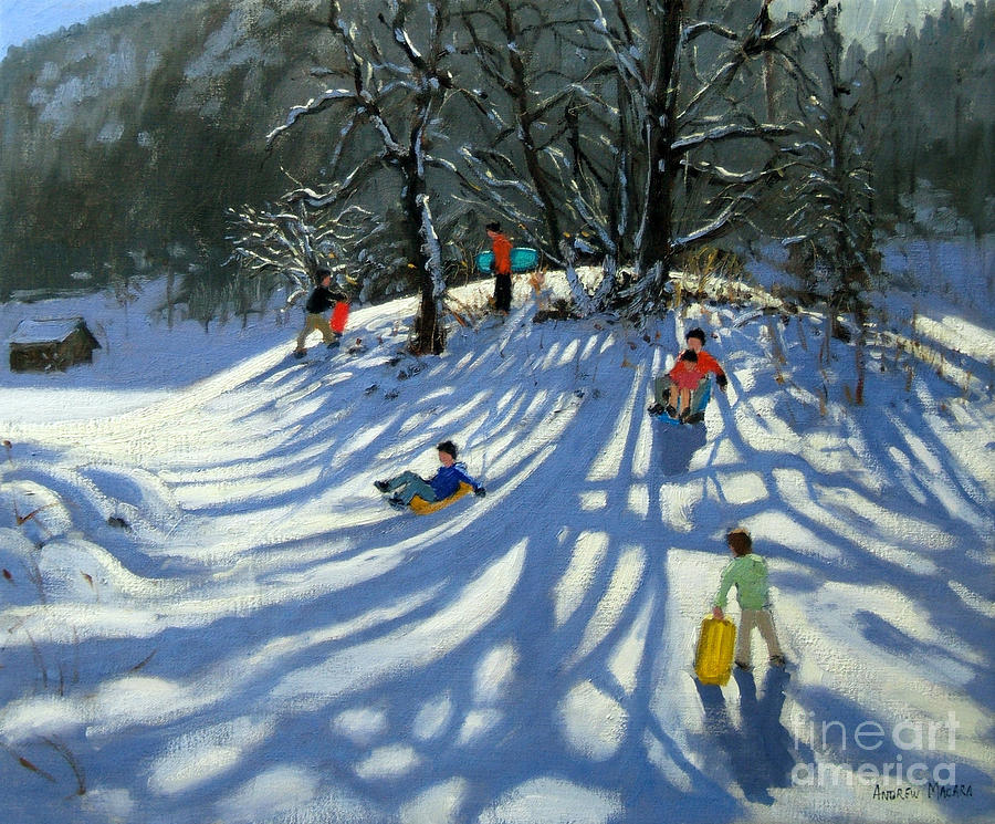 Winter Painting - Fun In The Snow by Andrew Macara