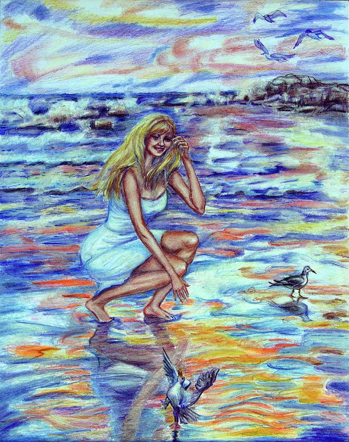 Woman Drawing - Fun In The Sun by Yelena Rubin