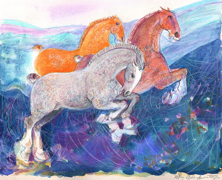 Horses Painting - Fun Time by Mary Armstrong