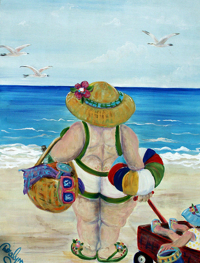 Beach Painting - Fun With Nanny by Doralynn Lowe