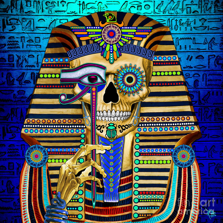 Funky Bone Pharaoh Mixed Media By Christopher Beikmann