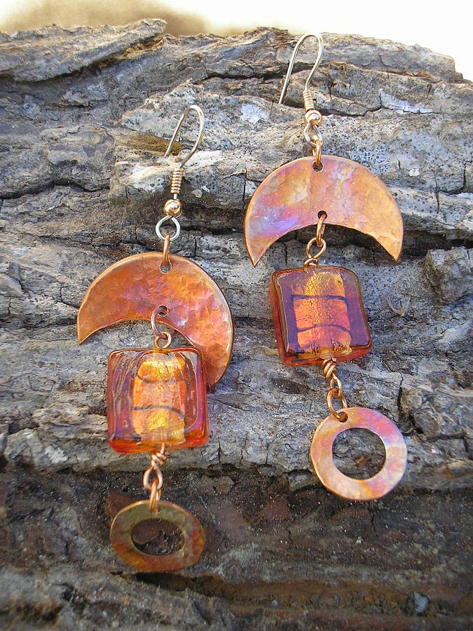 Hammered Jewelry - Funky Copper And Glass by Angie DElia