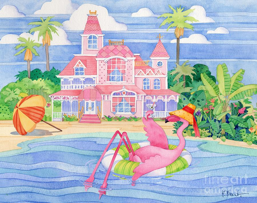 Flamingo Painting - Funky Flamingo Hotel I by Paul Brent