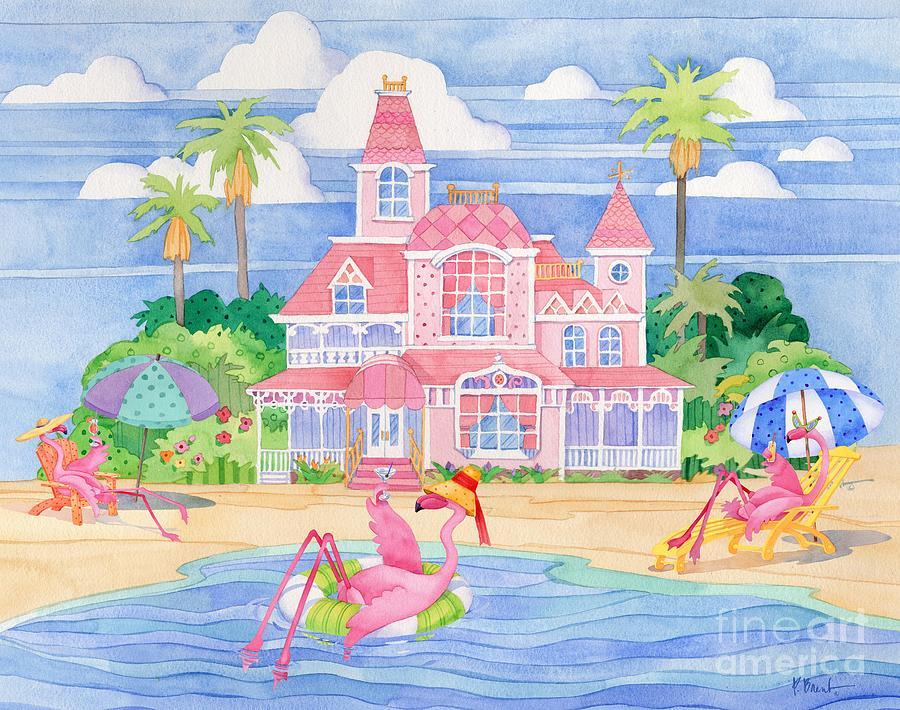 Flamingo Painting - Funky Flamingo Hotel II by Paul Brent