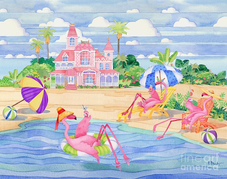 Flamingo Painting - Funky Flamingo Hotel IIi by Paul Brent