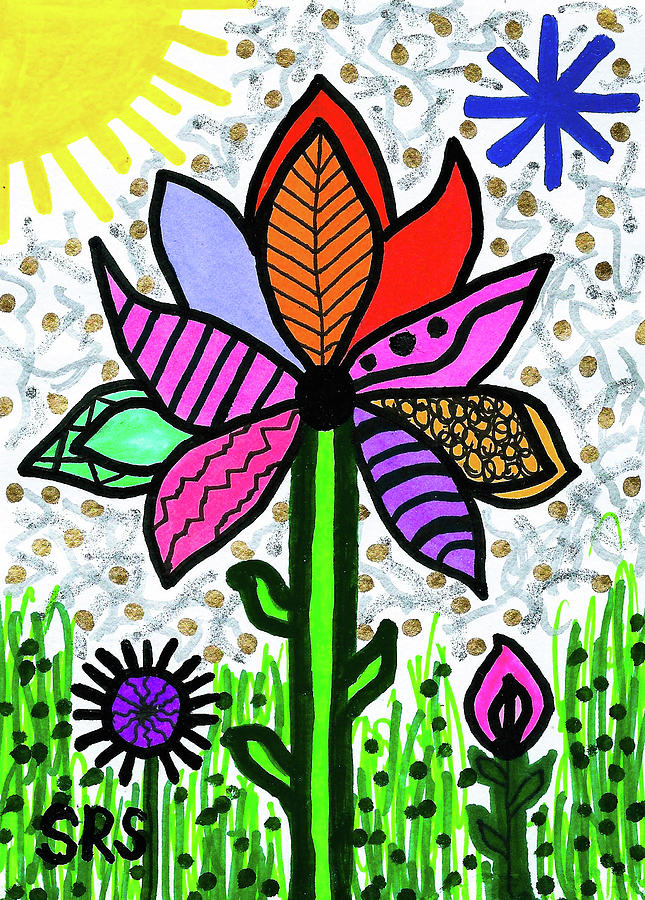 Vibrant Drawing - Funky Flower Mod Pop by Susan Schanerman