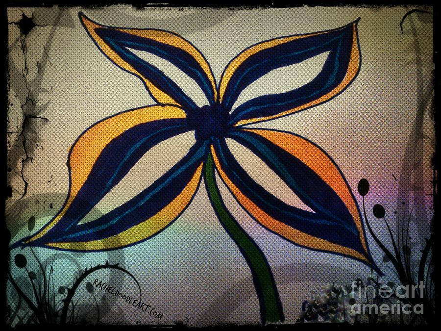 Doodle Drawing - Funky Flower by Rachel Maynard