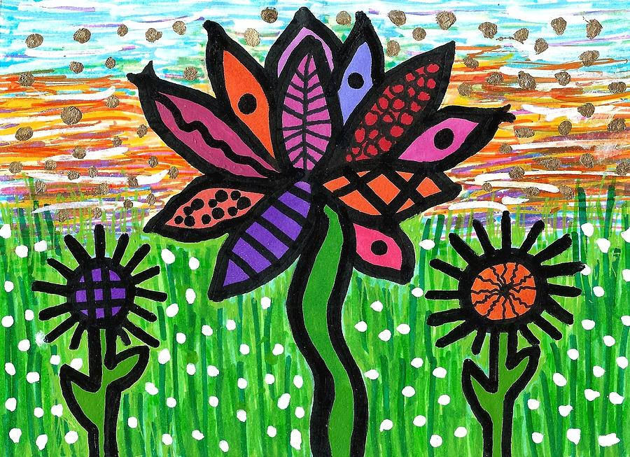 Vibrant Drawing - Funky Flowers At Sunset by Susan Schanerman