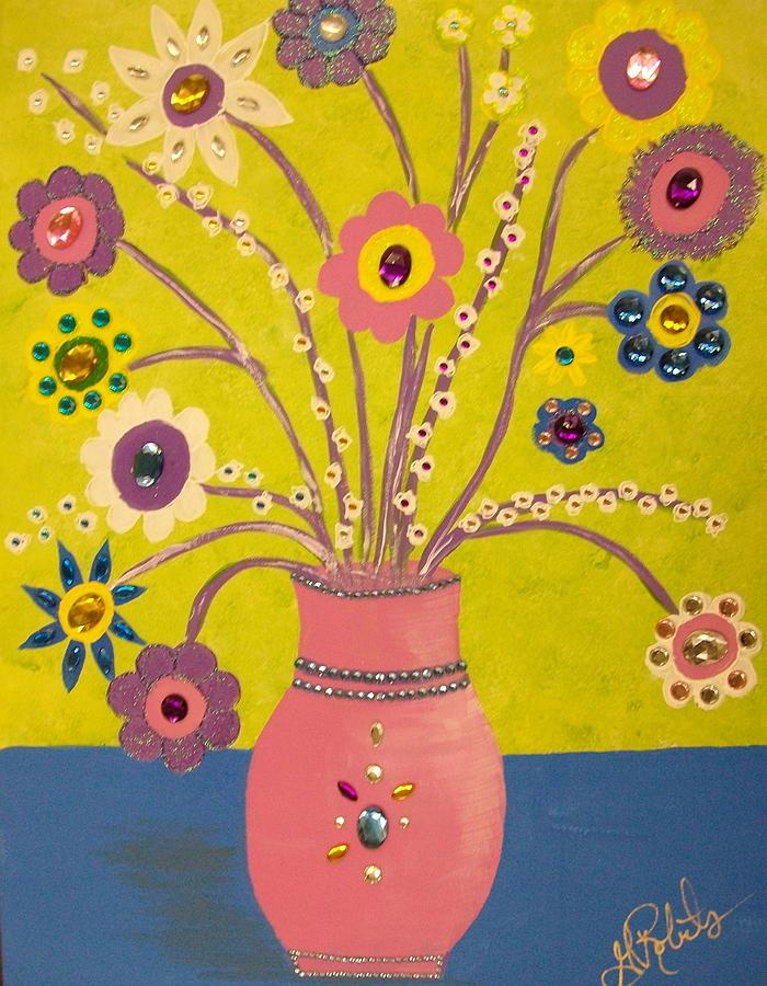 Flowers Painting - Funky Flowers by Ginny Roberts